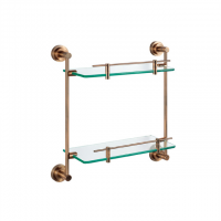 Evans S/Steel Double Glass Shelf (Red Barss)